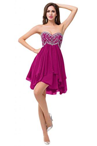 Sunvary , motivo: strass, colore: arancione con rouches Homecoming Party da ballo rosa fucsia