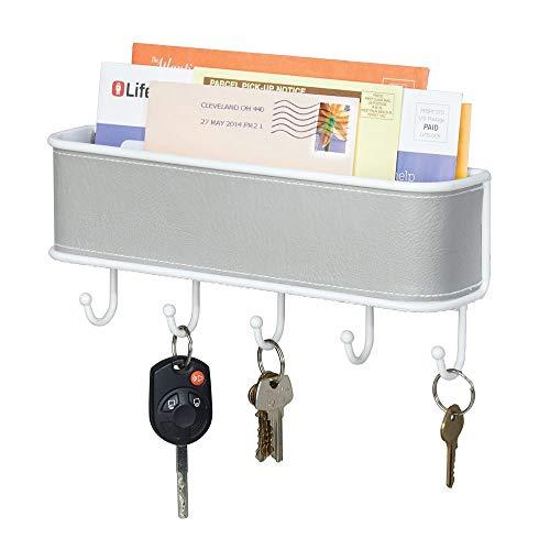 mDesign Briefablage und Schlüsselbrett-Organizer in grau-weiß, für Eingangsbereich oder Küche, wandmontiert -