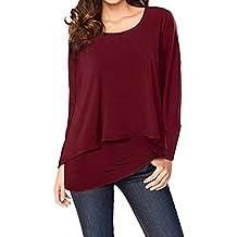 Longra Damen 2 in 1 Optik Shirt Langarmshirt Rundhals Casual Tunkia Große  Größen Longshirt Asymmetrisch Oberteil 2a2528bffa