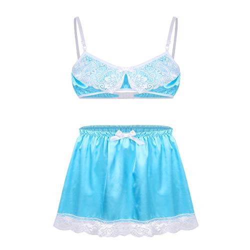 iiniim Herren Dessous Set Satin BH+Sissy Panties Höschen Nachtwäsche Nachthemd Reizwäsche Unterwäsche Set M-XL Himmel Blau D XL