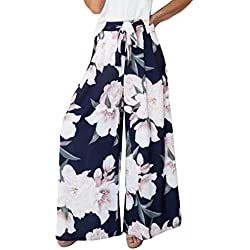 CICIYONER Mujeres Sexy Cintura Alta Estampado de Flores Floral Pantalones de Pierna Ancha