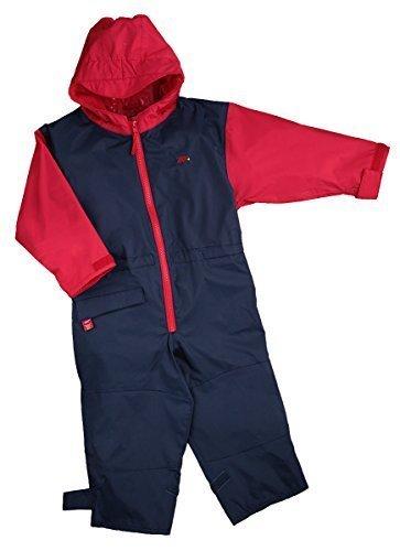 Togz hochwertiger Kinder Regenanzug Overall, Navy Blau / Rot, Gr.90