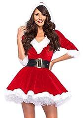Idea Regalo - Leg Avenue - Costume natalizio con cappuccio da Mrs Claus, Donna, taglia: M/L, colore: Rosso/Bianco