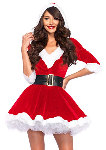Claus Womens Kostüm Mrs - Leg Avenue 85356 - Kostüm, Mrs Claus Hooded Dress, Größe Medium/Large, rot/weiß, Damen Weihnachten Fasching