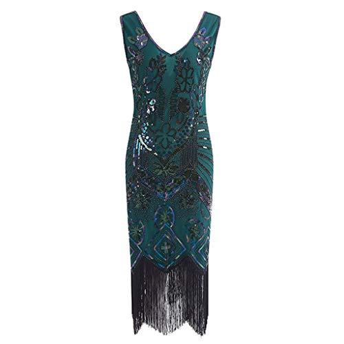 LOPILY Damenmode Kostüm Kleid Partykleid Damen Kleid Retro Flapper Kleider Troddel Herrlich Pailletten Kleider Vintage Franse CocktailKleider Abendkleider(X1-Grün,EU-40/CN-XL)