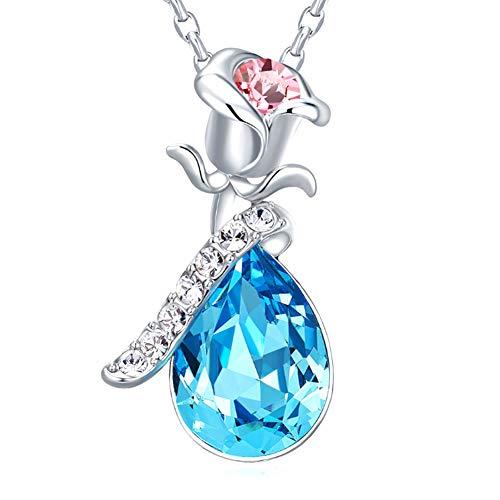 XINGYU Liebe Herz Anhänger Halskette Rose Blume Schmuck für Frauen-mit Swarovski Elements Kristallanhänger- Für Hochzeit, Geburtstag, Muttertag Halskette, Blue