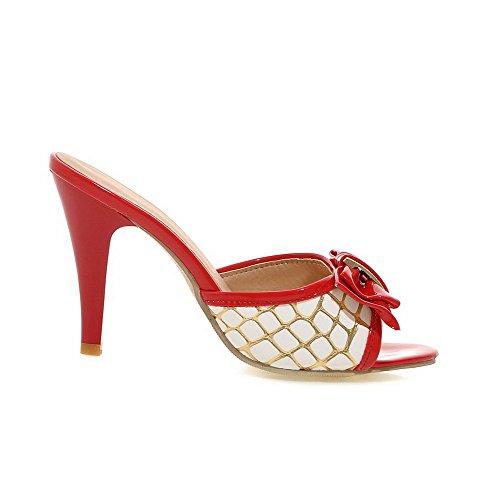 VogueZone009 Damen Weiches Material Ziehen Auf Offener Zehe Hoher Absatz Gemischte Sandalen Mit Hohem Absatz Rot