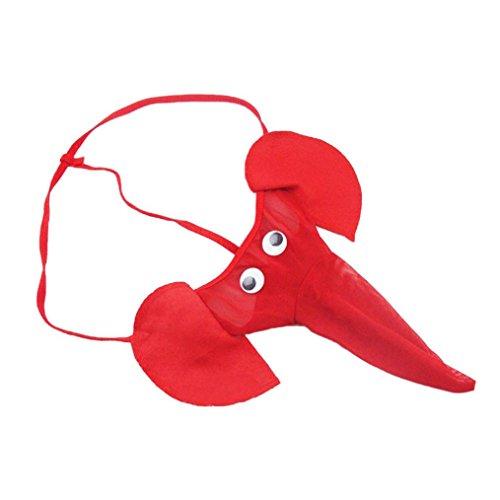 Unterhose Herren, Reizvoll Männer Elephant Bulge Pouch Mens Elastische T zurück Dessous Tanga Erotische Unterwäsche G-stringtanga Unterwäsche Retroshorts (Rot, Freie Größe) (Elasthan Zurück)