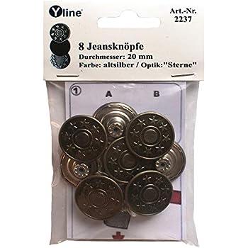 j-si-10 Nähfreiknöpfe Hosenknöpfe 8 Metall- Jeans- Knöpfe silberfarben 20mm