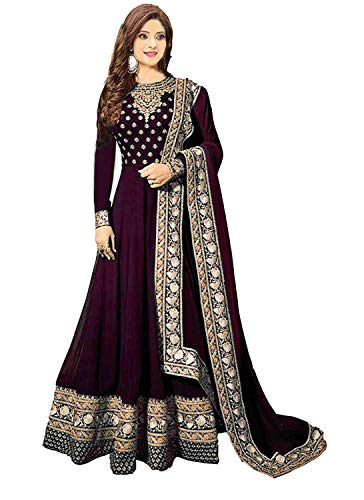 Ruri Enterprise Women's Faux Georgette Semi-stitched Embroidered Heavy Work Anarkali Suits (RE40-40, Wine, Free Size)