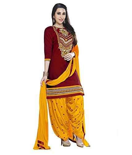 angel quuen Women's Cotton Dress Material (salwar suit_Free Size_Maroon)