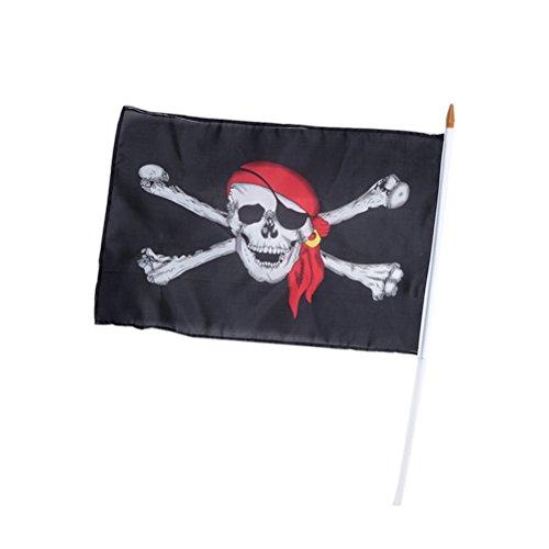 Tinksky Piratenflagge-Rot-Hut Piraten-im Freienflaggen-Piraten-Schädel und gekreuzte Knochen-Flagge Halloween-Dekoration-Kostüm Cosplay-Versorgungsmaterialien