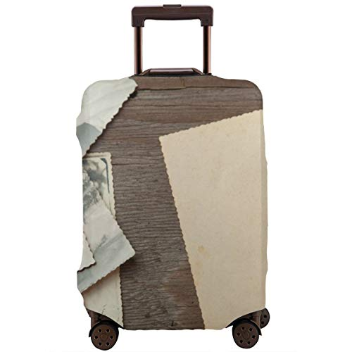 Travel Suitcase Protector,Stack Old Photos On Table Mock-up Blank Paper Postcard Rumpled and Dirty Vintage Retro Card,Suitcase Cover Washable Luggage Cover XL -