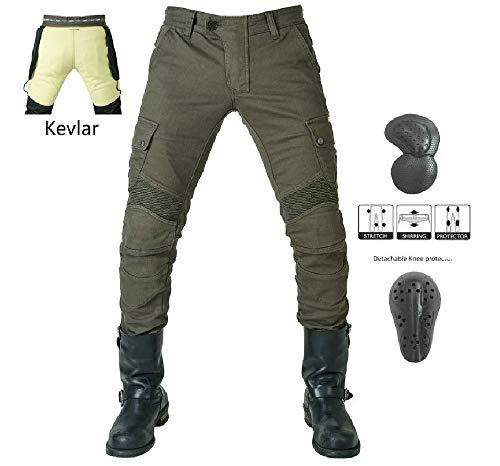 Vaqueros de moto para hombres - Kelvar - Protección Aramid Motocicleta Pantalones Biker Pants (Verde militar, XL=34(95cm Waist))