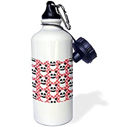 3dRose wb_26433_1 Cute Panda Bear with Pink and Red Dots Sports Water Bottle, 21 oz, White