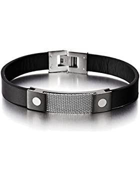 Masculine Herren Schwarz Leder Armband Edelstahl Armband Eingebettet mit Stahldrähte Gitter