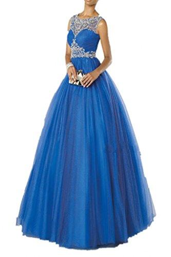 Promgirl House Damen Herrlich Steine A-Linie Ballkleider Festkleider Abendkleider Lang Royalblau