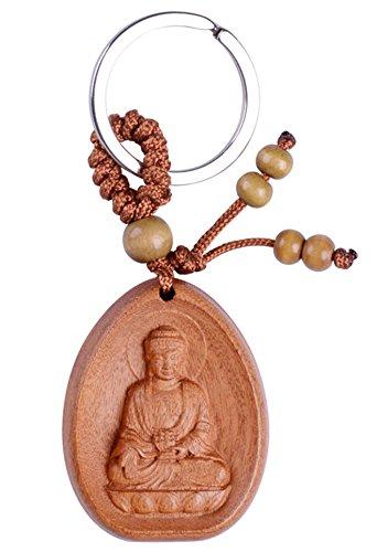 s sicher Pfirsich Holz Mahasthamaprapta Buddha Anhänger Schlüsselanhänger Keychain Schlüsselanhänger Geschenk-Set (Acalanatha) (Buddha-schlüsselanhänger)