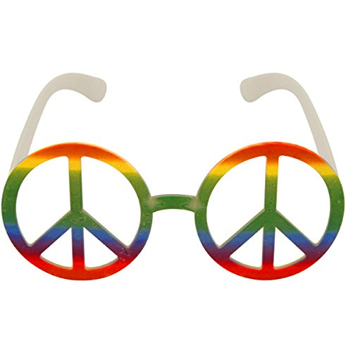German Trendseller® - Hippie Brille - 80er┃ - Peace -┃ Flower Power ┃ Rainbow ┃ Fasching ┃ Karneval ┃ Bunte Farben