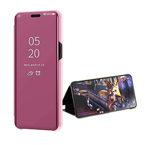 Compatible Funda Translucent Xiaomi Redmi GO/5A Oro Rosa, Inteligente Teléfono Carcasa Espejo Mirror Window View, Espejo de Maquillaje Mirror Flip, Estéreo Soporte Pioneer