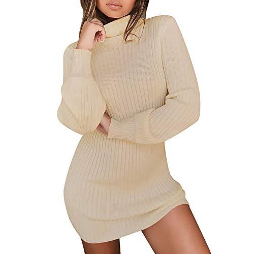 Frimuoy Elegantes Damen-Pullover mit hohem Kragen, langärmelig, Rollkragen, Gr. S-4XL, khaki
