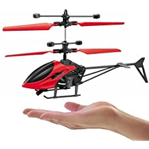 MANAN GIFT GALLERY Plastic Hand Induction Control Flying Helicopter Toy with Infrared Sensor, USB Charger and Flashing Light for Kids (Multicolour)