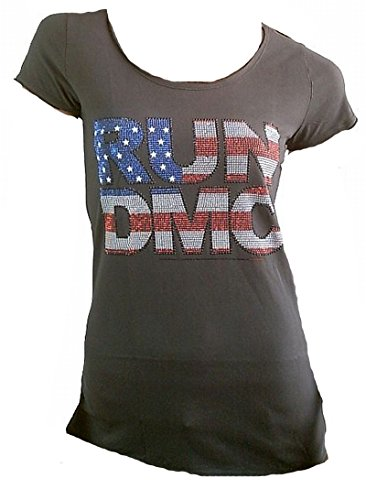Amplified Damen Lady T-Shirt Grau Holzkohle Charcoal Anthrazit Official RUN DMC Merchandise USA STRASS 80 er Hip Hop Rock Star Vintage ViP XS 34/36 (Hip-hop-holzkohle)