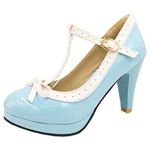 TAOFFEN Damen Elegant Hoch Absatz Party Pumps T-Spange Solid Schuhe Sky Blue