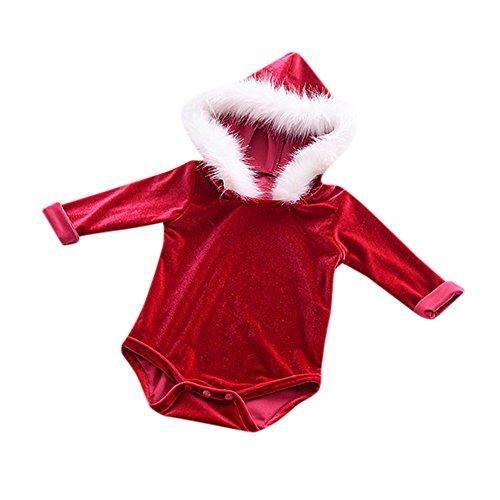 Baby Kapuzenpulli Honestyi Neugeborenes Weihnachtsmädchen Langarm Feste Fell Flock Jumpsuit Outfit (Rot,90)