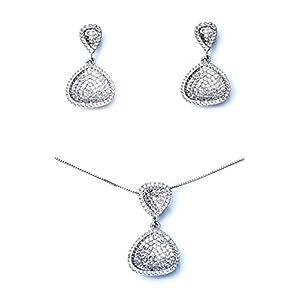 Ana Morales Damen-Schmuckset 925 Sterling Silber Kristalle und Zirkonia + echter 925 Silberkette