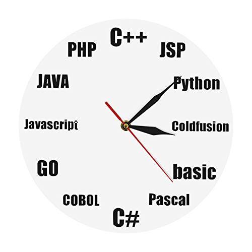 Reloj de pared Programa Lenguaje Diseño minimalista Reloj de pared Oficina de TI de negocios Programa de decoración de pared Reloj de pared de cuarzo nerd Regalos para informáticos Geeks Blanco