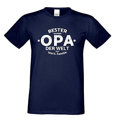 Vatertagsgeschenk für ihren Papa Vater oder Großvater Geburtstagsgeschenk Opa :-: Motiv T-Shirt Bester Opa der Welt :-: Geschenkidee für Ihn oder Rentner Farbe: navy-blau Gr: XL