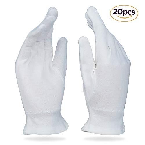 Beauty Care Wear Mittlere Weiße Baumwollhandschuhe Gegen Ekzeme, Trockene Haut & Zur Feuchtigkeitsspendende - 20 Handschuhe -