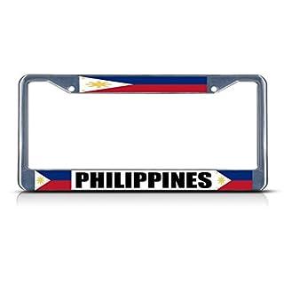 Philippinische Flagge Filipino Land Chrom Heavy Duty Metall Kennzeichenrahmen Perfekt für Männer Frauen Auto Garadge Decor