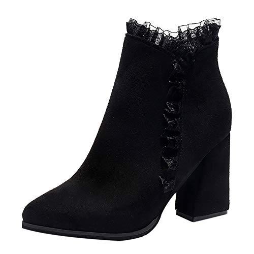 MYMYG Stiefeletten Boots Frauen solide Dicke High Heel Lace Flock Kurze Stiefel Reißverschluss Runde Zehe Schuhe Vintage Chunky High Heels Madeline ()
