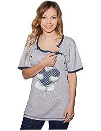 Nursing Schlafanzug Teddy 2 in 1 Umstandsschlafanzug Sleep Shirt + Hose Pyjama Nachtwäsche Still- Pyjama