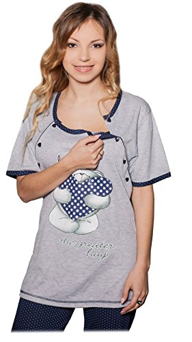 Nursing Schlafanzug Teddy 2 in 1 Umstandsschlafanzug Sleep Shirt + Hose Pyjama Nachtwäsche Still- Pyjama (42 (XL), Blue)