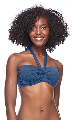 Skye Damen Emma Bandeau Bikini Top Swimsuit with Twist Front Detail Bikinioberteil, Stone Soft Wisdom Blau, Large