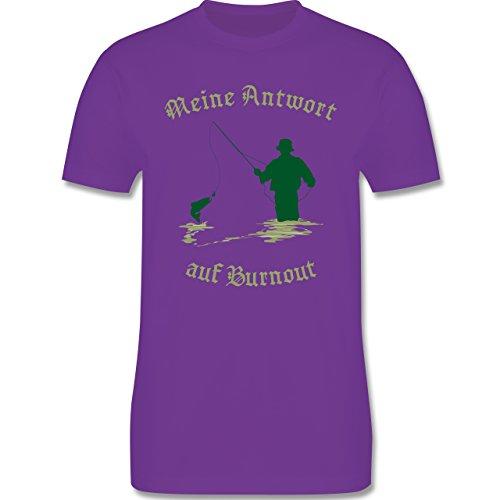 Angeln - Meine Antwort auf Burnout - Herren Premium T-Shirt Lila