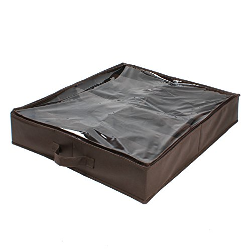 Groß Unterbett Schuh Aufbewahrungsbox - ezeso 12 Pocket starkem 600D Polyester Material Unterbett Schuh Aufbewahrungstasche Faltbar Aufbewahrungsbox mit 2 mm klar PVC Deckel (groß, braun) (Schöne Jordan Schuhe)