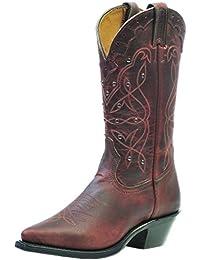 Botas de los EE.UU.-Botas, botas western BO-0205-17-C (pie normal), diseño de mujer, color marrón