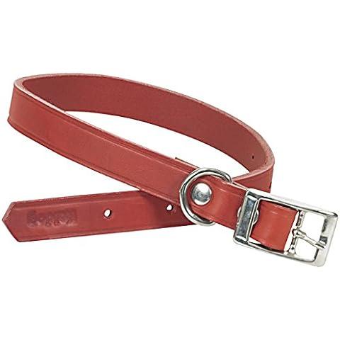 CHAPUIS SELLERIE SLA630 Collare per cani e gatti - Cuoio rosso - Larghezza 12 mm - Lunghezza 27 cm - Misura XS