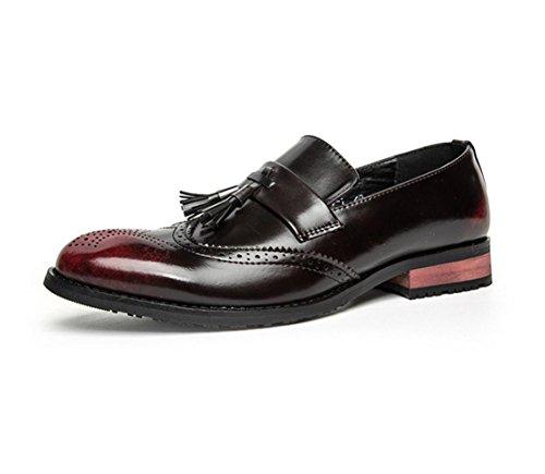 HYLM Bullock scarpe casual di business estate scarpe da sposa traspirante da uomo in pelle intagliata Red