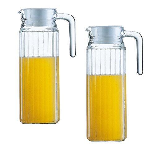 2x Glas Pitcher / Saftkrug / Krug / Glaskanne / Kühlschrankkrug | 1,1 Liter aus Glas mit Deckel
