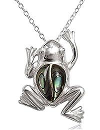 EYS JEWELRY® Damen-Halskette Frosch Frösche 30 x 21 mm Abalone Paua Muschel 925 Sterling Silber grün-blau türkis im Etui Damenkette Anhänger