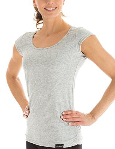 Winshape Damen Kurzarmshirt WTR4 Fitness Freizeit Yoga Pilates,Grau(Grey Melange),L
