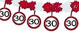 1 Girlande mit Dekoration * 30. GEBURTSTAG * mit Verkehrsschild-Design // Set Banner with Dangling Cutouts Decoration Deko Wimpelkette Jubiläum Dreißig Jahre