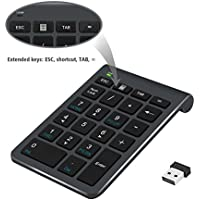 Number Pad, Alcey Wireless 22 Keys Numeric Keypad With 2.4G Mini USB Receiver for iMac, MacBooks, PCs and Laptops – Black