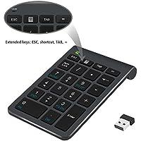 Ziffernblock, Alcey 22 Tasten Ziffernblock mit 2,4 GHz Mini USB Empfänger für iMAc, Macbooks, PC und Laptops in schwarz