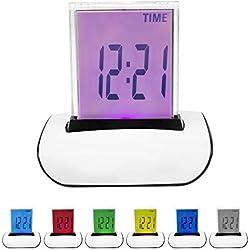 DIGIFLEX RéVEIL DIGITAL LCD LED 7 COULEURS AVEC THERMOMîˆTRE
